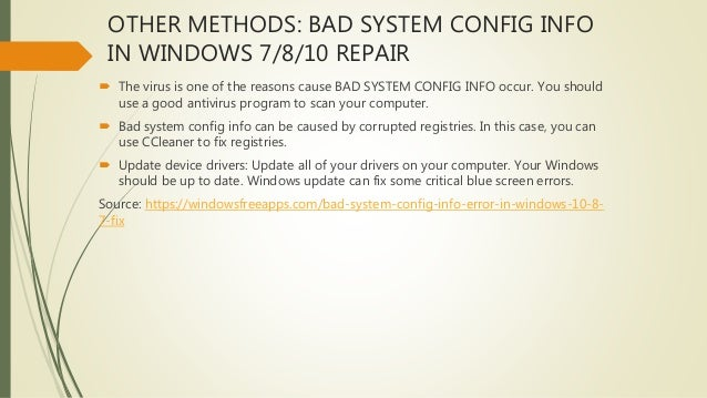 Bad_system_config_info error on windows 10