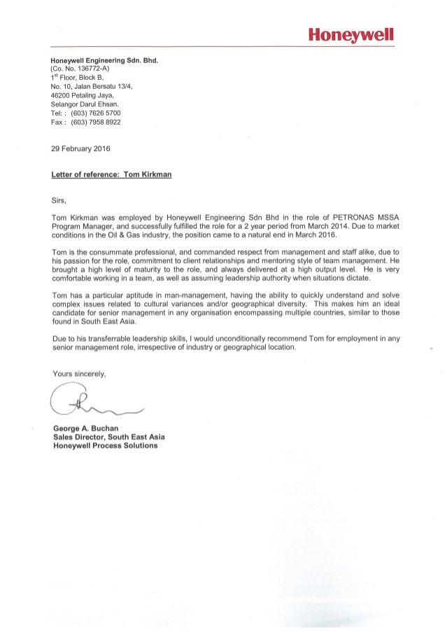 Letter of reference from honeywell se asia sales director re tom k letter of reference from honeywell se asia sales director re tom kirkman spiritdancerdesigns Gallery