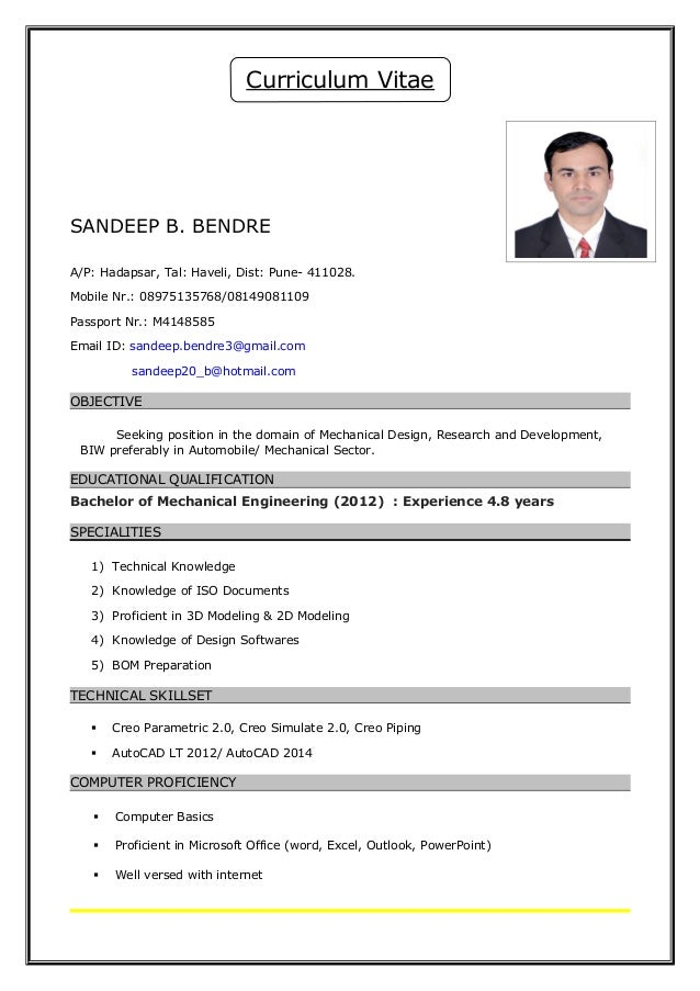 Resume Mechanical Design Engineer