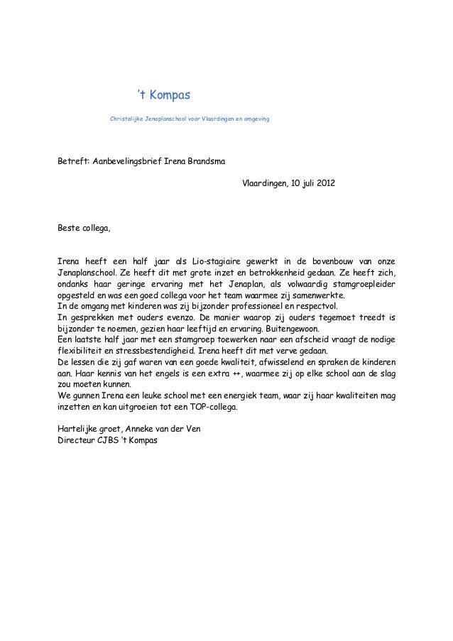 aanbevelingsbrief irena