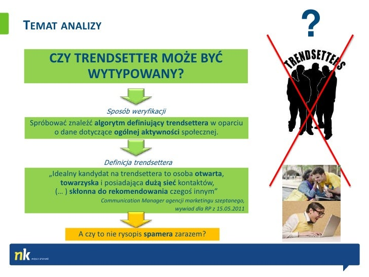 TEMAT ANALIZY                                                                            ?      CZY TRENDSETTER MOŻE BYD  ...
