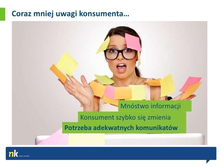 Coraz mniej uwagi konsumenta…                            Mnóstwo informacji                 Konsument szybko się zmienia  ...