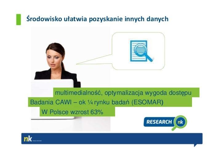 Środowisko ułatwia pozyskanie innych danych        multimedialność, optymalizacja wygoda dostępu Badania CAWI – ok ¼ rynku...