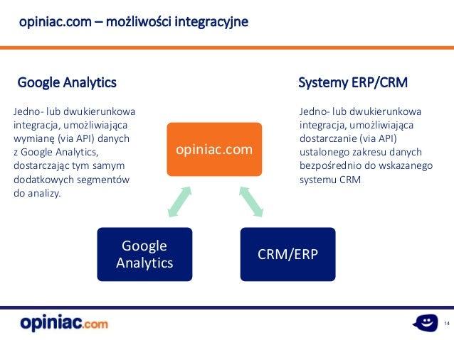 14 opiniac.com – możliwości integracyjne Google Analytics Systemy ERP/CRM Jedno- lub dwukierunkowa integracja, umożliwiają...