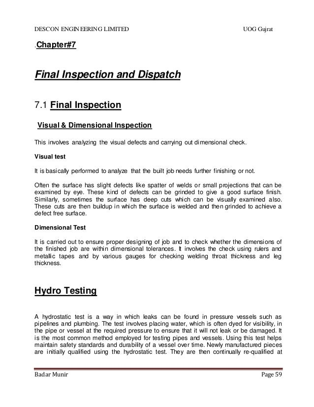 internship report on descon Descon's internship report 5095 words mar 19th, 2011 21 pages comsats  institute of information technology sahiwal descon engineering limited.