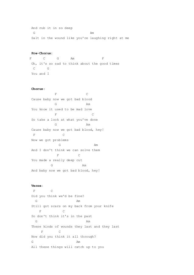 Bad blood by taylor swift guitar chords_Zager Reviews