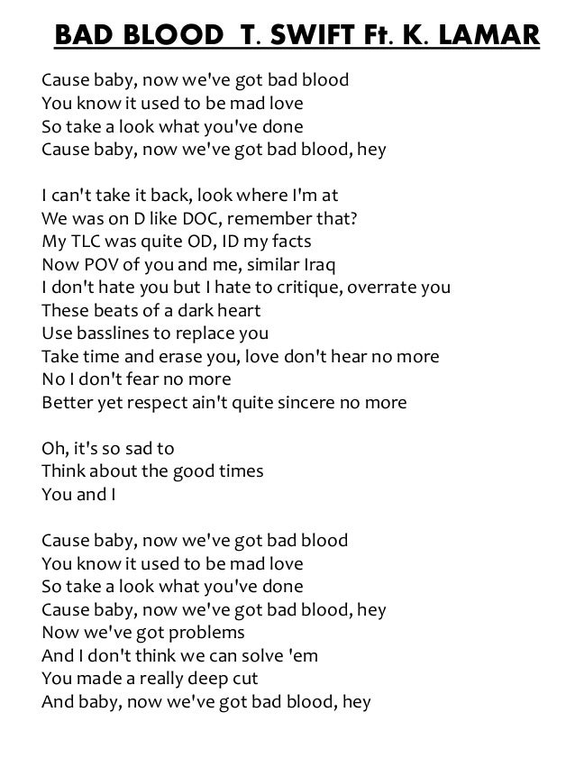 Lyric ellie goulding my blood lyrics : Bad Blood - Taylor Swift ft. Kendrick Lamar