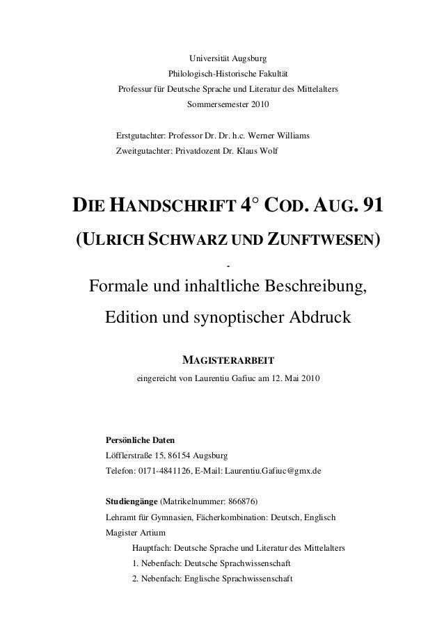 Gafiuc Laurentiu Die Handschrift 4 Cod Aug 91 Ulrich Schwarz Un