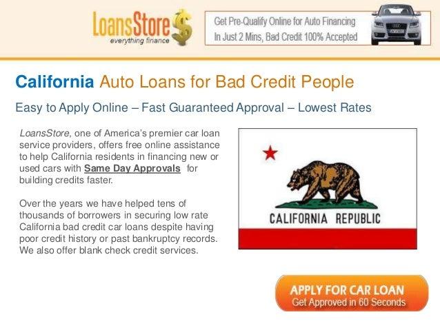 Bad Credit Auto Loans In California