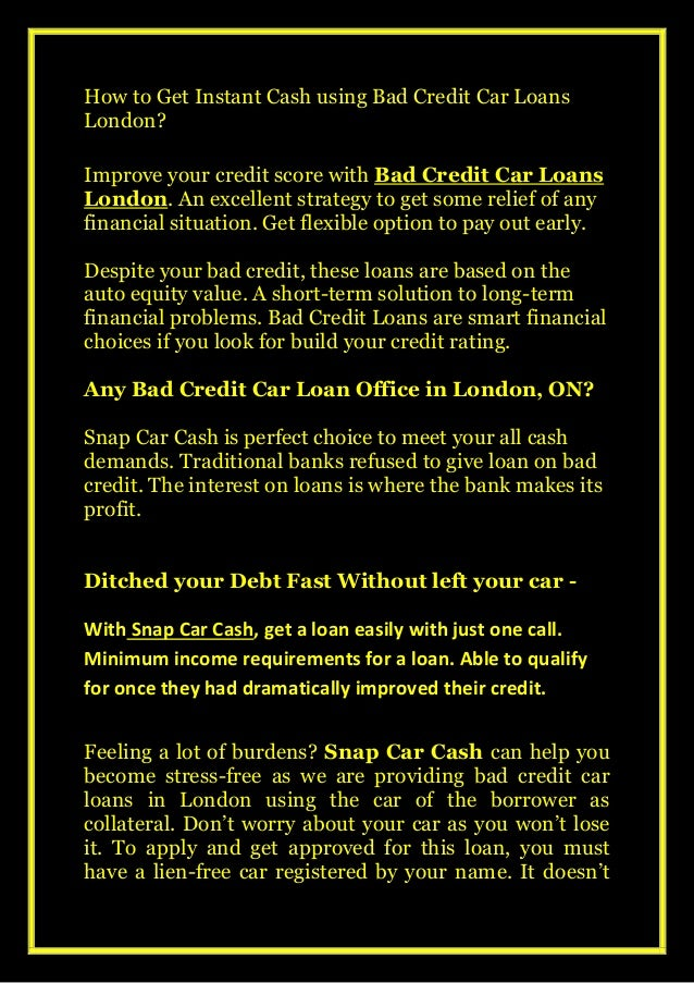 How cash troubles fixed? Online Apply on Bad Credit Car Loans London Slide 2