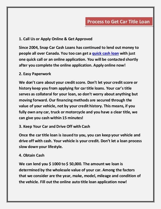 Bad credit car loans Nova Scotia - Snap Car Cash Slide 3