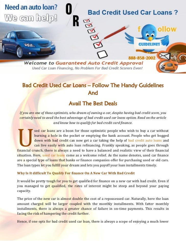 Bad Credit Used Car Loans Follow The Handy Guidelines And Avail The