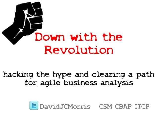 Down with the Revolution hacking the hype and clearing a path for agile business analysis DavidJCMorris CSM CBAP ITCP