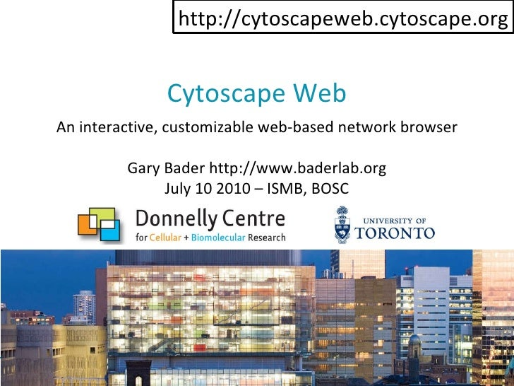 Cytoscape Web Gary Bader http://www.baderlab.org July 10 2010 – ISMB, BOSC An interactive, customizable web-based network ...