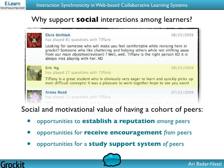 Collaborative Learning In Classroom Interaction : Interaction synchronicity in web based collaborative