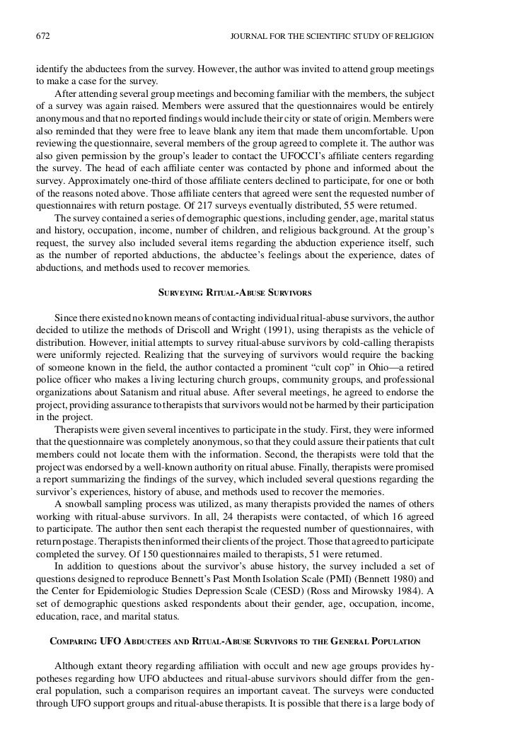 672                                               JOURNAL FOR THE SCIENTIFIC STUDY OF RELIGIONidentify the abductees from ...