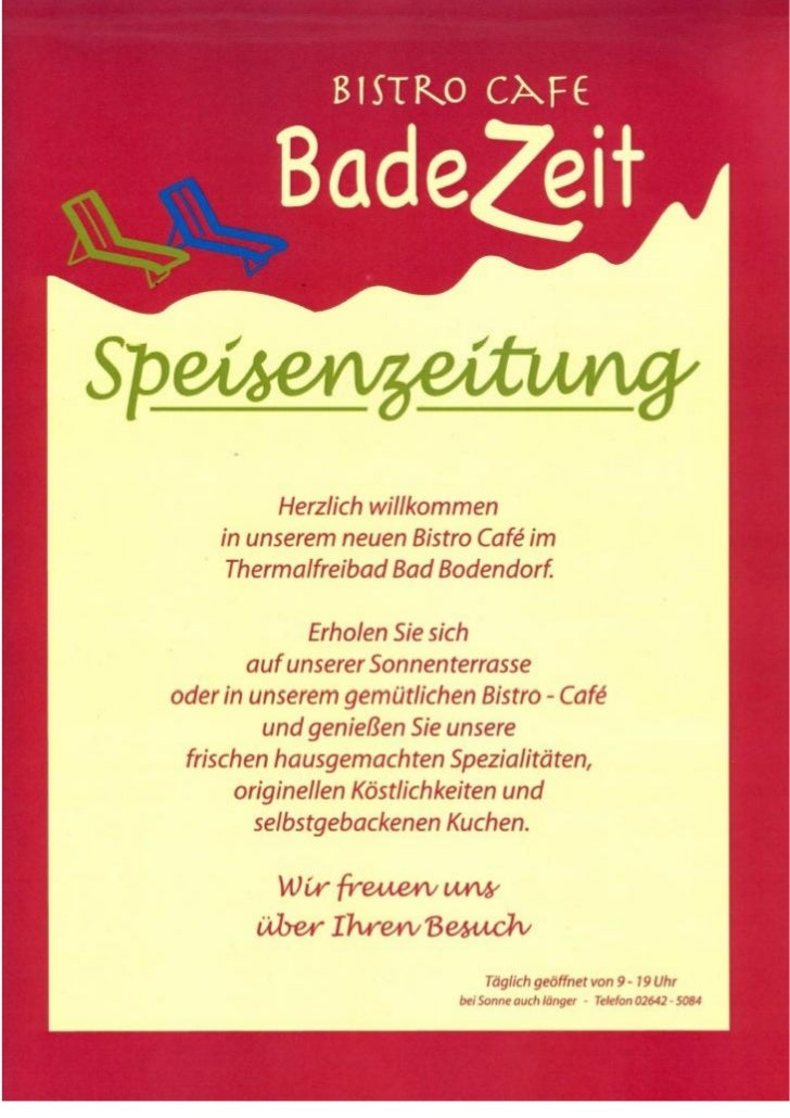 BadeZeit - Speisenkarte