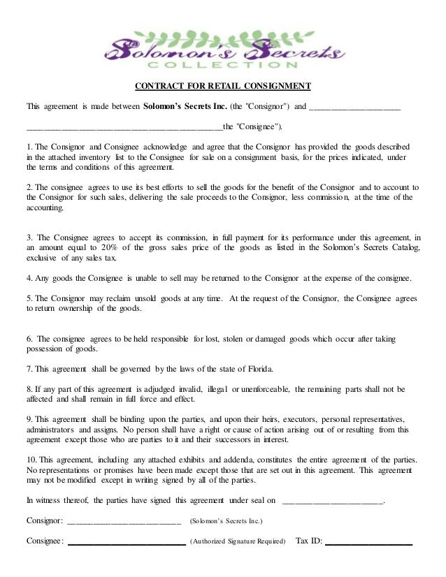 Consignment Agreement Yelomphonecompany