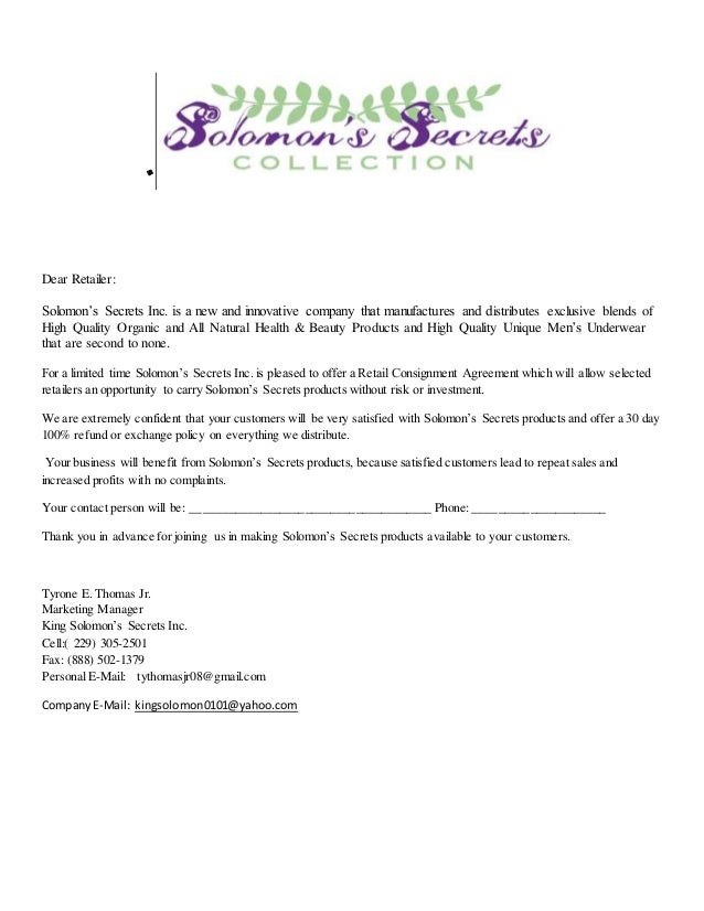 Solomnon Secret Retail Consignment Contract