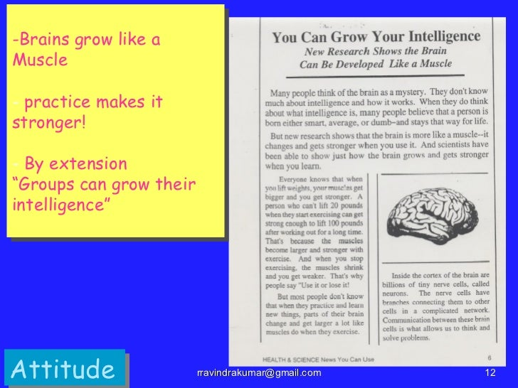 """-Brains grow like aMuscle- practice makes itstronger!- By extension""""Groups can grow theirintelligence""""Attitude            ..."""