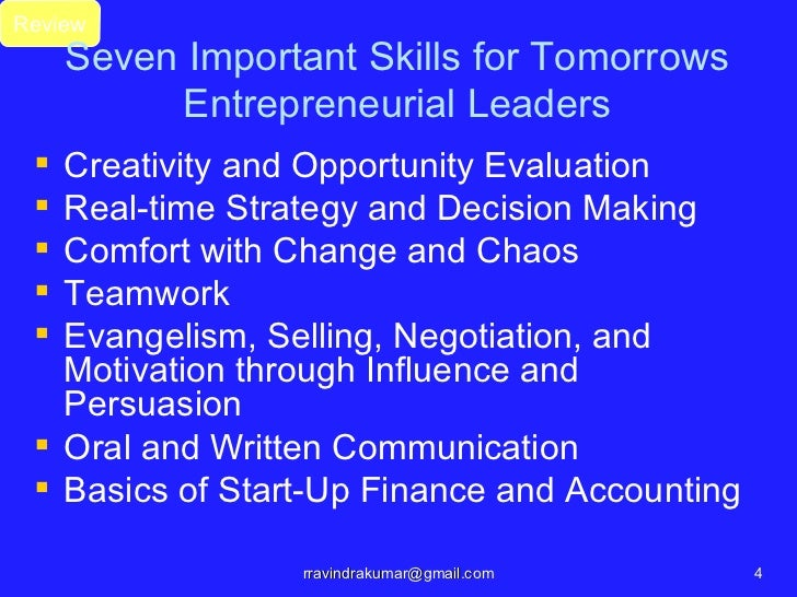 Review     Seven Important Skills for Tomorrows          Entrepreneurial Leaders  Creativity and Opportunity Evaluation ...