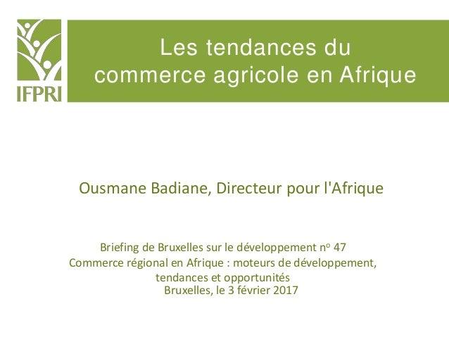 Les tendances du commerce agricole en Afrique Briefing de Bruxelles sur le développement no 47 Commerce régional en Afriqu...