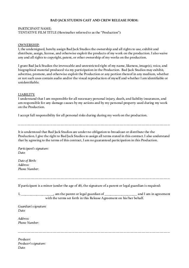 Parent Release Form - Design Templates