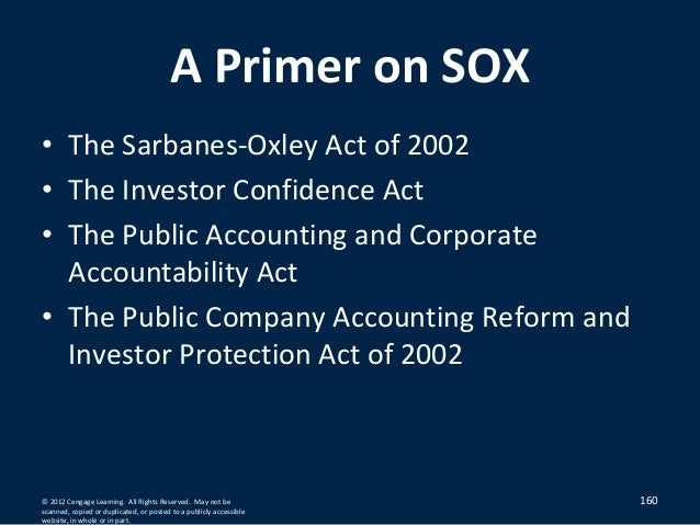 primer on the sarbanes oxley act 2002 The sarbanes–oxley act of 2002 also known as the public company  accounting reform and investor protection act (in the senate) and corporate  and.