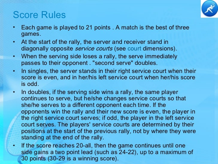 badminton rules and history Test pertains information about basic rules on how to play badminton.