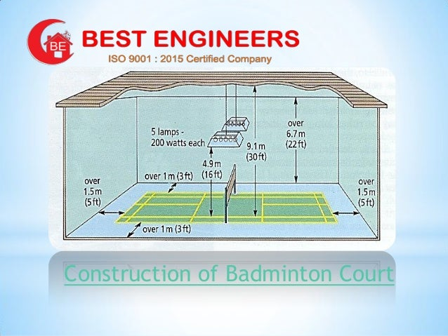 Badminton court contractors in chennai trichy coimbatore for Indoor badminton court height