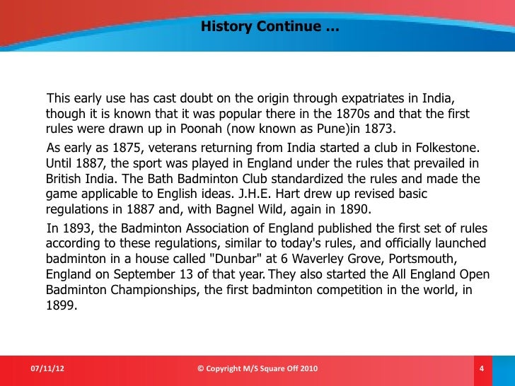 History Of Badminton Pdf