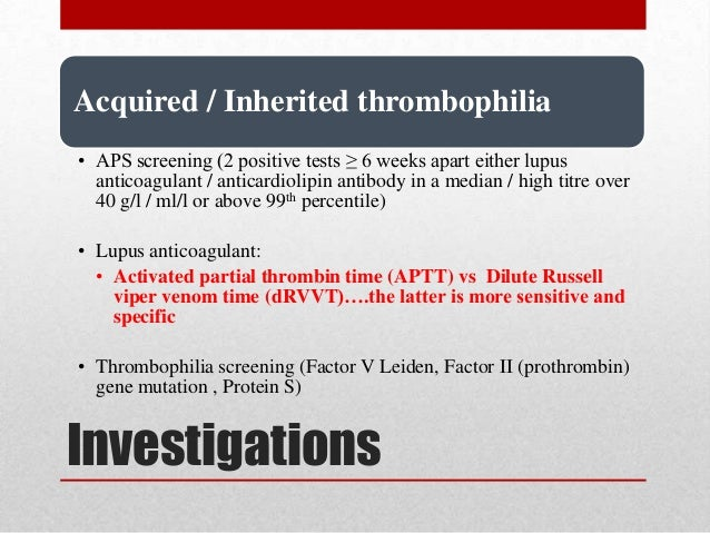 Thrombophilia test during warfarin treatment