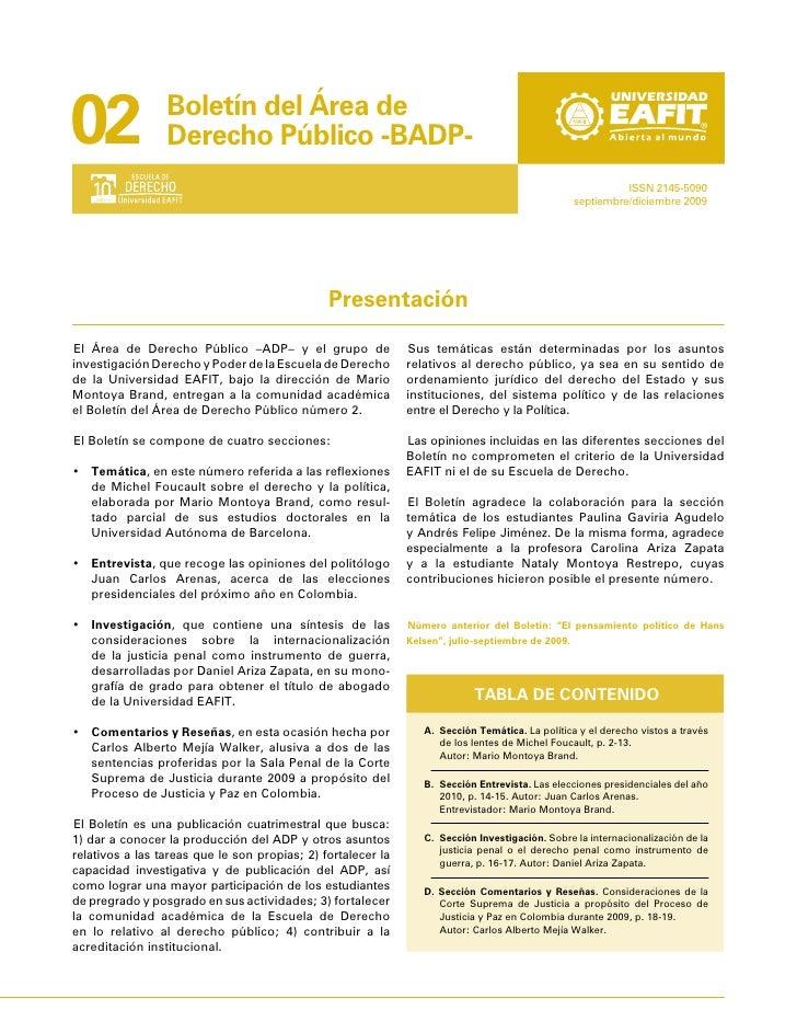 02               Boletín del Área de                  Derecho Público -BADP-                                              ...