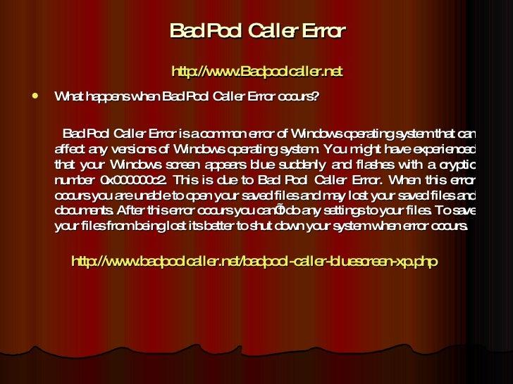 bad pool caller error xp