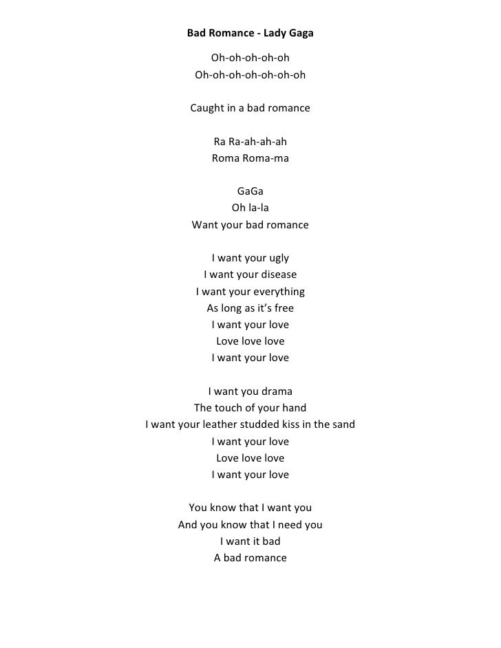 Bad romance lady gaga lyrics