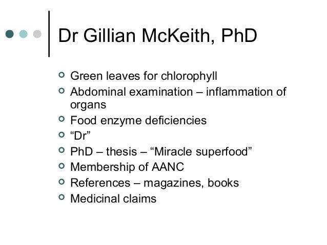 Gillian mckeith thesis