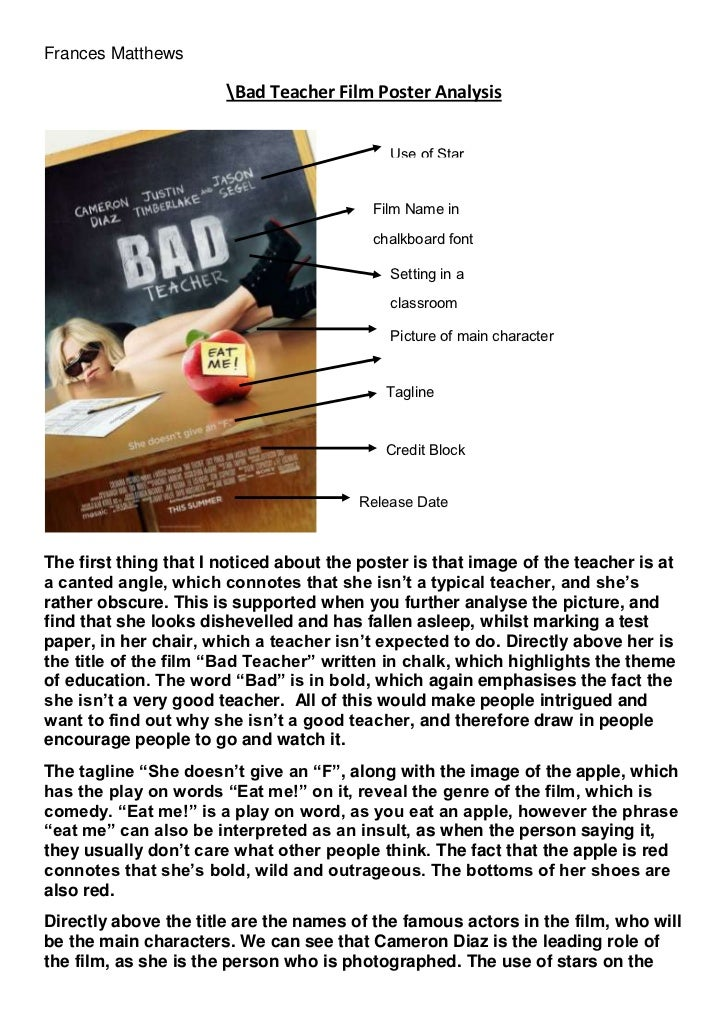 bad teacher film poster analysis picture of main characterrelease datecredit blocktaglinesetting in a classroomfilm in chalkboard fontuse of star bad teacher film poster analysis