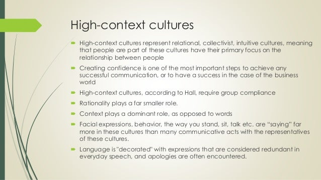 high context culture and low context culture examples