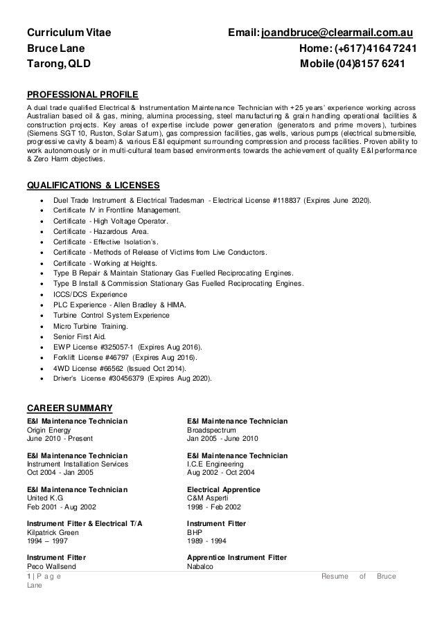 Resume of Bruce Lane