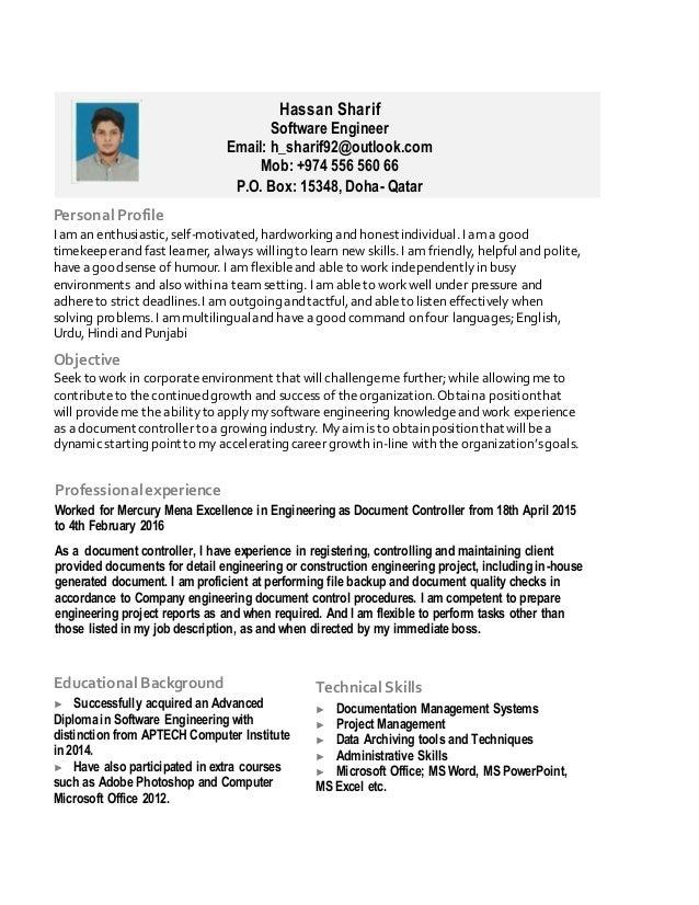 Hassan Sharif Software Engineer Email: h_sharif92@outlook.com Mob: +974 556 560 66 P.O. Box: 15348, Doha- Qatar Profession...