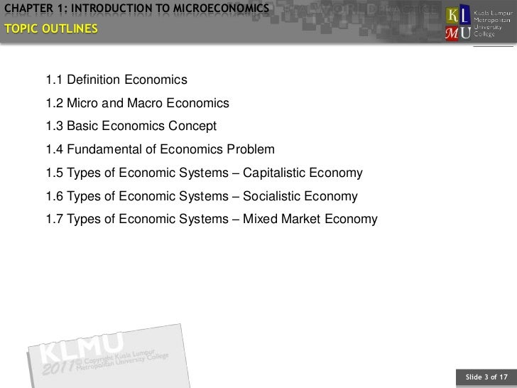 BAEB602 Chapter 1: Introduction to Microeconomics