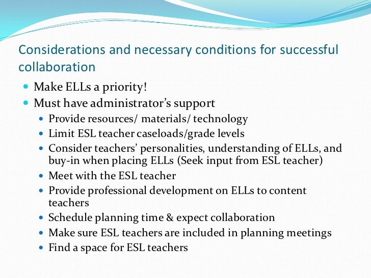 Collaborative Teaching For Esl : Bell baecher s push in pull out collaboration ppt