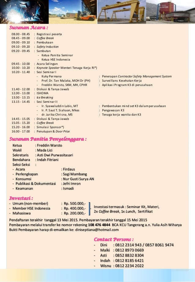 Proposal Seminar Nasional K3 By Hse Indonesia Participant