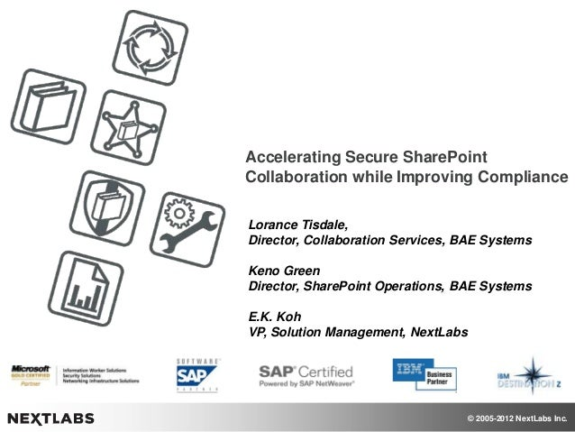 © 2005-2012 NextLabs Inc. Accelerating Secure SharePoint Collaboration while Improving Compliance Lorance Tisdale, Directo...