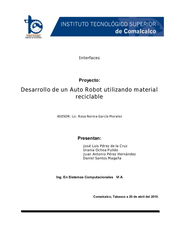 INSTITUTO TECNOLÓGICO SUPERIOR DE COMALCALCO 1                                                             INTERFACES     ...