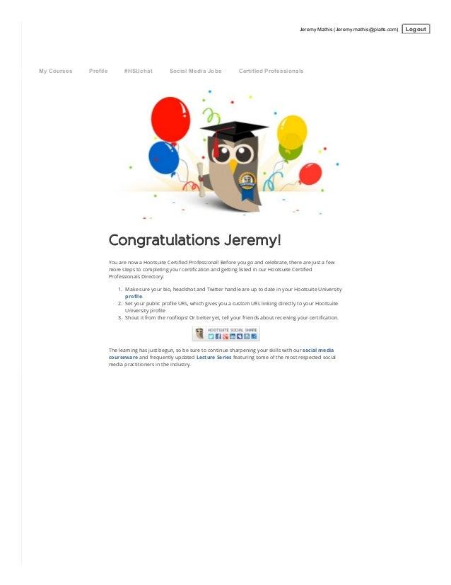 Hootsuite University Social Media Certification Jeremy L Mathis