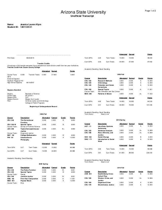 ocean county college transcript Transcript ASU
