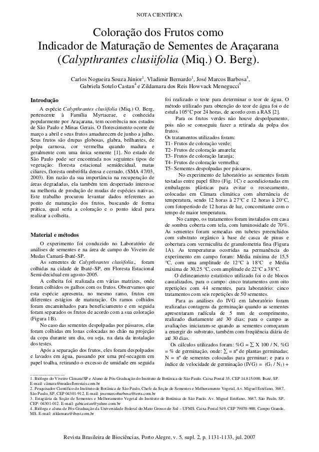 NOTA CIENTÍFICA Revista Brasileira de Biociências, Porto Alegre, v. 5, supl. 2, p. 1131-1133, jul. 2007 Introdução A espéc...