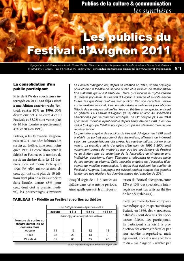 Les publics du Festival d'Avignon 2011 La consolidation d'un public participant Près de 85% des spectateurs in- terrogés e...