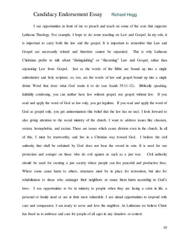 Elca candidacy essay